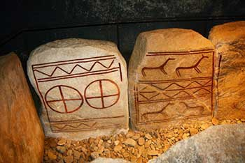 One of the many memorial stones dating from 1,600 BC which were discovered at Kivik in Sweden in 1749.